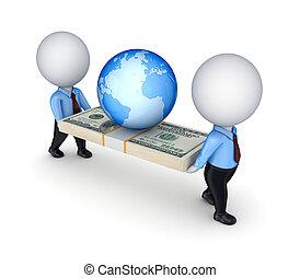 3d, pequeno, pessoas, com, um dólar, pacote, e, earth.