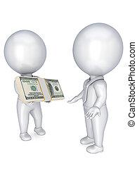 3d, pequeno, pessoas, com, um dólar, pacote, em, um, hands.