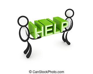 3d, pequeno, pessoas, com, um, palavra, ajuda, em, um, hands.