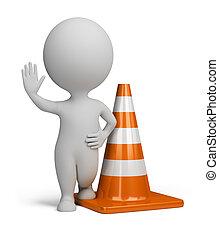 3d, pequeno, pessoas, -, cone tráfego