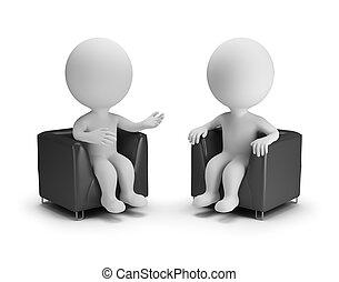 3d, pequeno, pessoas, -, conversação