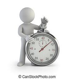 3d, pequeno, pessoas, -, cronômetro