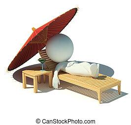 3d, pequeno, pessoas, -, descanso, ligado, um, lounge chaise