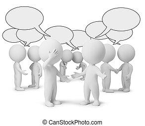 3d, pequeno, pessoas, -, discussão