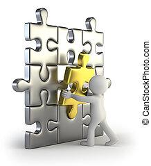 3d, pequeno, pessoas, -, dourado, quebra-cabeça, inserção