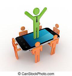 3d, pequeno, pessoas, e, modernos, móvel, telefone.