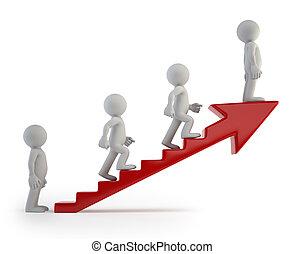 3d, pequeno, pessoas, -, escada sucesso
