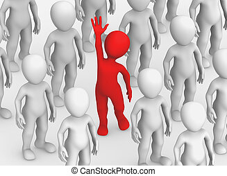 3d, pequeno, pessoas., escolha, concept.