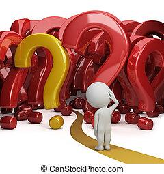 3d, pequeno, pessoas, -, floresta, perguntas