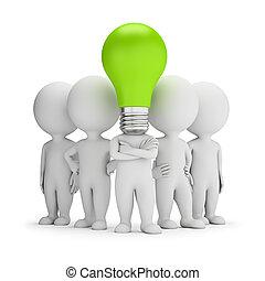 3d, pequeno, pessoas, -, idéias, líder