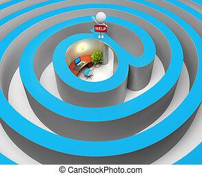 3d, pequeno, pessoas, -, internet, um, labirinto