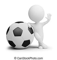3d, pequeno, pessoas, -, jogador futebol, com, a, grande, bola