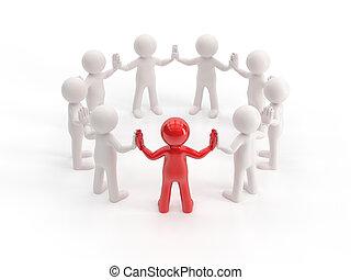3d, pequeno, pessoas, -, líder