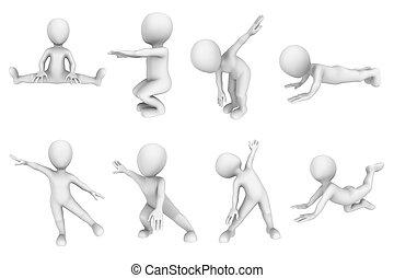 3d, pequeno, pessoas, ligado, condicão física, training.