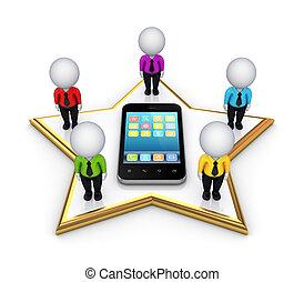 3d, pequeno, pessoas, ligado, um, estrela, e, modernos, móvel, telefone.