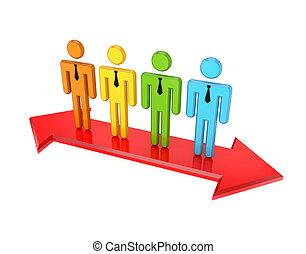 3d, pequeno, pessoas, ligado, um, vermelho, double-sided, arrow.