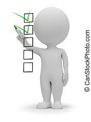 3d, pequeno, pessoas, -, lista de verificação