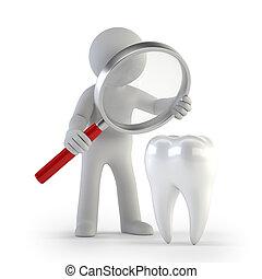 3d, pequeno, pessoas, -, lupe, dente