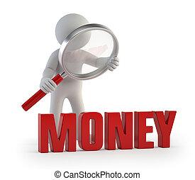 3d, pequeno, pessoas, -, lupe, dinheiro