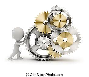 3d, pequeno, pessoas, -, mecanismo