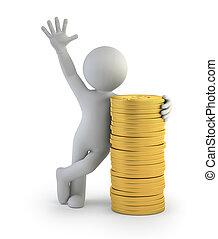 3d, pequeno, pessoas, -, moedas ouro