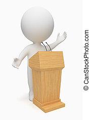 3d, pequeno, pessoas, -, orador