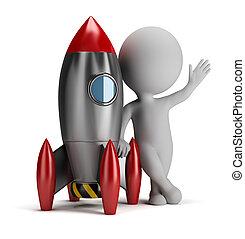 3d, pequeno, pessoas, perto, foguete