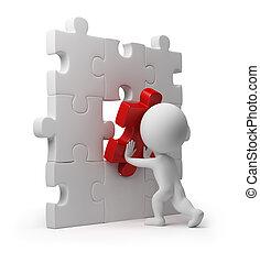 3d, pequeno, pessoas, -, quebra-cabeça, inserção