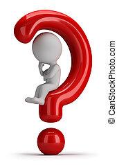 3d, pequeno, pessoas, -, senta-se, ligado, a, pergunta