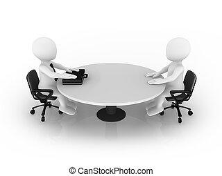 3d, pequeno, pessoas sentando, em, redondo, tabela., homem negócios, e, client.