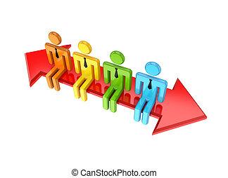 3d, pequeno, pessoas sentando, ligado, um, double-sided, arrow.