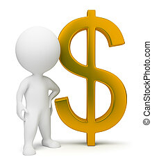 3d, pequeno, pessoas, -, sinal dólar