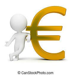 3d, pequeno, pessoas, -, sinal euro