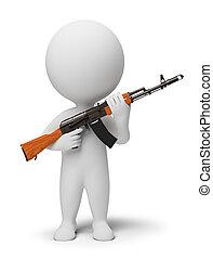 3d, pequeno, pessoas, -, soldado, com, ak74
