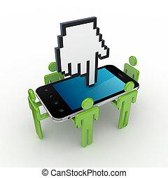 3d, pequeno, pessoas, telefone móvel, e, grande, cursor.