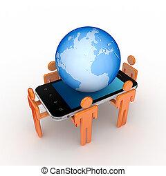 3d, pequeno, pessoas, telefone móvel, e, grande, globe.