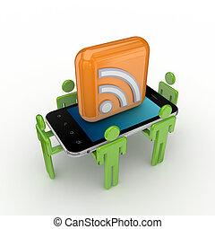 3d, pequeno, pessoas, telefone móvel, e, rss, símbolo.