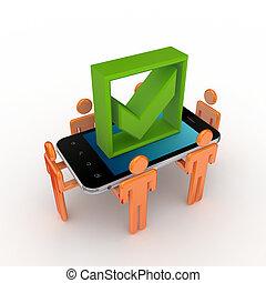 3d, pequeno, pessoas, telefone móvel, e, verde, carrapato, mark.
