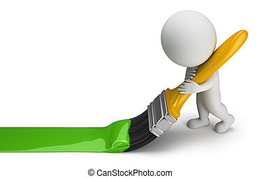 3d, pequeno, pessoas, -, tinta verde, escova