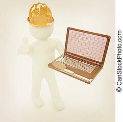 3d, pequeno, pessoas, -, um, engenheiro, com, a, laptop, ., 3d, illustration., vindima, style.