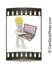 3d, pequeno, pessoas, -, um, engenheiro, com, a, laptop., a, faixa película