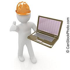 3d, pequeno, pessoas, -, um, engenheiro, com, a, laptop