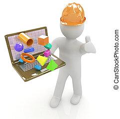 3d, pequeno, pessoas, -, um, engenheiro, com, a, laptop, presentes, 3d, capabi