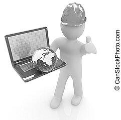 3d, pequeno, pessoas, -, um, internacional, engenheiro, com, a, laptop, e
