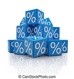 3d - percent cubes - blue