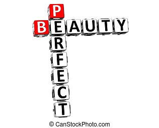 3D Perfect Beauty Crossword on white background