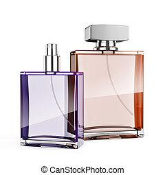 3d perfume bottle on white backgrou