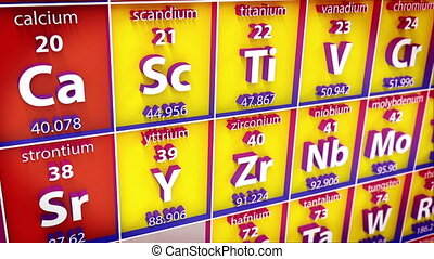 3D Periodic table of element. Concept.