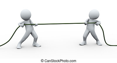 3d perople pulling rope - 3d Illustration of man pulling a...