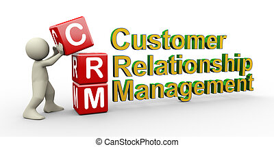 3d person and crm cubes - 3d render of man placing crm ( ...